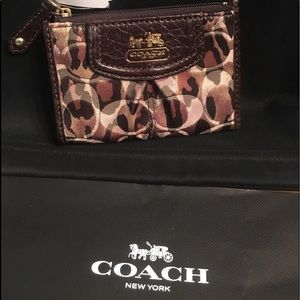 Coach Camo brown leather gold zip Case wallet NEW